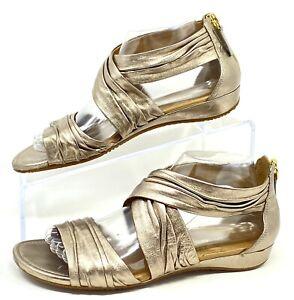 ECCO Damara Metallic Anke Wrap Rear Zip Sandals Womens Size 39 EUC