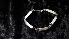 Vintage Sterling Silver White Moonstone Link Bracelet 19 cm