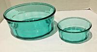 Vintage Arcoroc Serving Bowls 2-PC Set Thumbprint Panel Teal Green Blue