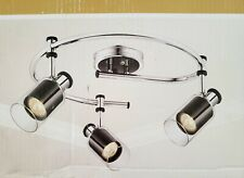 Hampton Bay Midnite 3-Light Directional Ceiling Light Clear Glass W/ Black Metal