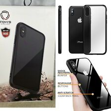 Clear iPhone Xs Max Case, [Tempered Glass Back] Hybrid Crystal Clear Shockproof