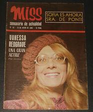 MISS #93 1969 Vanessa Redgrave F.C.Barcelona Liz Taylor Sophia Loren magazine