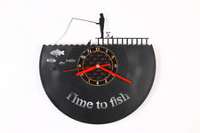 Time to fish Vinyl Shape Modern Wall Clock Bedroom Home Decor Gift