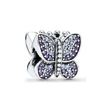 S925 Silver EURO Charm Pretty Lavender Pave Butterfly CZ by Pandora's Angels