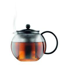 BODUM ASSAM TEA PRESS TEA POT 1.0L BLACK STEEL FILTER