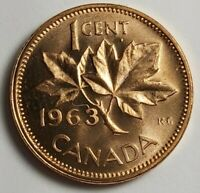 Canada Penny Error. 1963 Hanging 3 Dot Under 6 Canadian Cent Error. Lot of 2 BU.