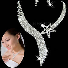 Fashion Crystal Wedding Bridal Jewelry Sets Tassel Star Necklace Earrings USA