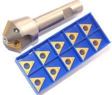 1x 45° Chamfer Cutter d15-d35mm-z2-l100 +10 WSP tcmt16t308-hm P10-P30 for Steel