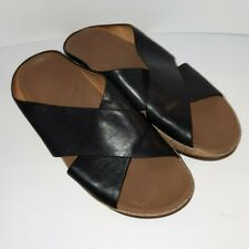 Fitflop KYS Black Leather Criss-Cross Cork Wedge Sandals Women's Size 9