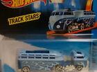 1/64 Hot wheels 2015 Track Stars Custom Volkswagen VW Hauler Blue vain on cardbo