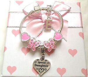 childrens kids girls Luxury pink butterfly heart charm bracelet in gift box