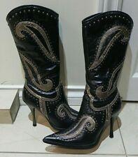 DOLLHOUSE Women's Black Gold Embellished Mid Calf Boots SZ 7.5 M WILD 4' Heel