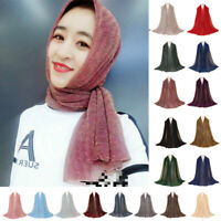 Muslim Women Shimmer Pleated Hijab Scarf Shawl Crinkled Wrinkle Shiny Head Wrap