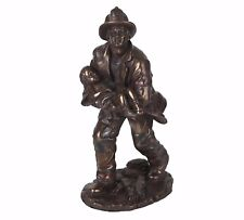 """Fireman Responding to Call Hand Painted Resin Figurine Statue 7.25""""H New"""