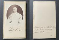 Le Pape Pie IX, 1866 vintage cdv albumen print -  CDV, tirage albuminé, 6 x 10