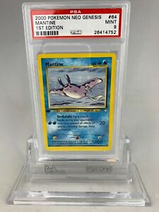 PSA 9 Mint Pokemon 1st Edition Mantine Neo Genesis