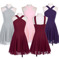 Women Formal Chiffon Dress Evening Party Retro Cocktail Bridesmaid Wedding Dress