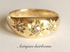 Vintage 18ct Yellow Gold Diamond Trilogy Gypsy Ring Fully Hallmarked Stunning