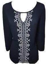 BONGO Woman blouse Size Large 3/4 sleeve Navy blue top shirt