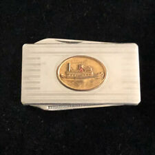 Knife Blade Silver Tone Vintage Steamboat Money Clip /