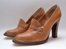 Stunning Vintage 1970s 'Miss Rose of London' Tan Leather Heeled Ladies Shoes