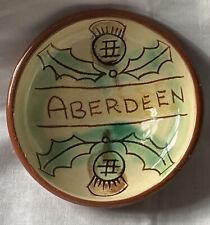 Vintage Art Pottery Scottish Ceramic Thistle Aberdeen Terracotta Dish Bowl