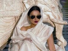 SILK Saree Sari Designer Natural beige Ivory Nude Handloom woven Plain NEW