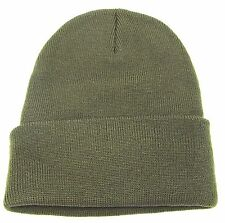 Plain Knit Beanie Skull Cap Long or Cuff Winter Ski Hat Adult OSFM  Olive New