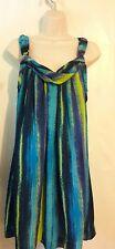 Lane Bryant 14 Striped Dress Sleeveless Blue Green Purple Polyester
