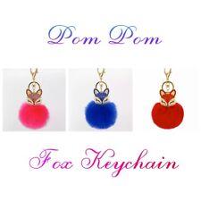 Pom Pom Ball Crystal Furry Fox Key Chain Ring Purse Backpack Charm Bundles
