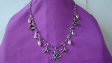 Necklace, Earrings Pewter Set w/Crystals, Pearls, Charms
