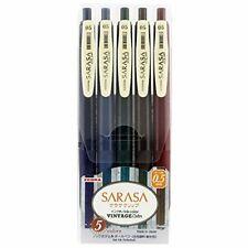 ZEBRA SARASA CLIP Gel Ball Point Pen 0.5mm Vintage 5 Color Set JJ15-5C-VI Japan