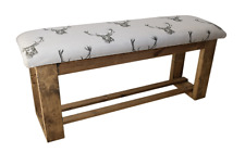 Wooden Upholstered Hallway/Dining Table Bench Upholstered in Stag Head Fabric
