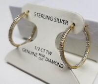 1/2CT GENUINE DIAMOND HOOP EARRINGS NEW 18K GOLD 925 STERLING SILVER <$200 SALE>