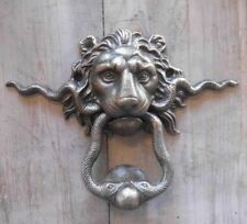 Lion Heurtoir de Porte Avec Serpents Antique Nostalgie Style Cottage Fonte Neuf
