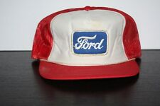 Vintage 1980s FORD TRUCKS Cars Patch Trucker Hat Red White Blue Patch