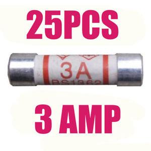 25Pcs 3A Ceramic Domestic Fuses Plug Top Household Mains 3amp Cartridge Fuse L80
