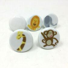 Set 5 Ceramic Animal Safari Drawer Handles Children's Dresser Pulls Doors Knobs