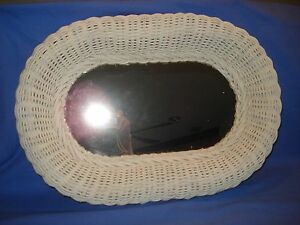 Vtg wall hanging white Wicker oval Mirror bath/bedroom cottage country shabby