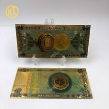 ONE BITCOIN souvenir Gold Plated banknotes with bag and certificate