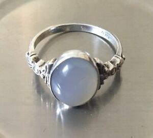 Vintage/antique, Sterling Silver, Moonstone Ring, UK size 'N 1/2'