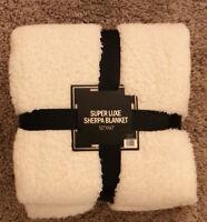 Super Soft Sherpa Throw Blanket 50''x 60'' - White