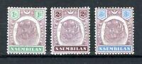 Malaysia - Negri Sembilan 1895-99 1c, 2c and 8c MH