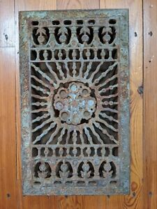 Antique Victorian Cast Iron Register Vent with Louvers by Tuttle & Bailey Rare