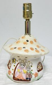 Barbara Winrow Piggery Ceramic Mushroom Rabbit Lamp Kids Whimsical Fairy Tales