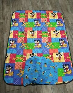 Vintage Dundee Disney Mickey & Minnie Mouse, Pluto Toddler Quilt Comforter Sheet