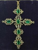 Antique Holy Cross Oval Emerald Simlnt Diamond Pendant Locket Yellow Gold Silver