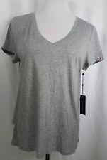 Tommy Hilfiger Women's Medium T Shirt V Neck Short Sleeve Heather Gray Logo NWT