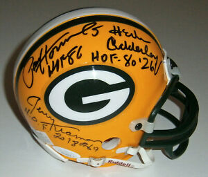 PACKERS Gregg Adderley Hornung Kramer Wood signed mini helmet 7 HOFer AUTOS JSA