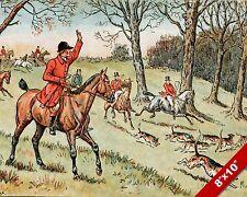 HOLD HARD FOX HUNT HORSE FOXHUNTING HUNTING ART PAINTING REAL CANVAS PRINT